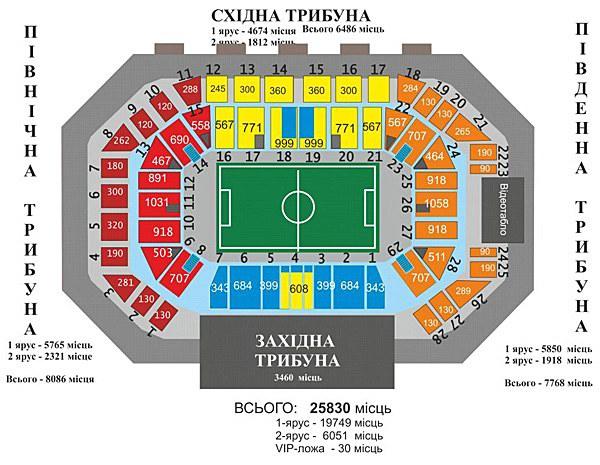Стадион Юбилейный - схема трибун