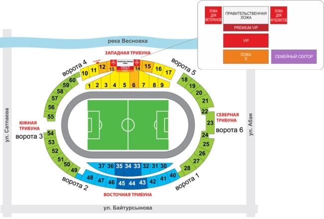 Центральный стадион Алматы - схема трибун